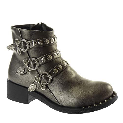 Angkorly - Damen Schuhe Stiefeletten - Biker - schick - Multi-Zaum - Nieten - besetzt - Schleife...