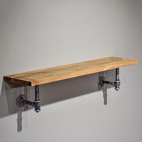 Coat rekken SKC verlichting massief hout ijzer muur gemonteerd retro haak muur plank combinatie kleding rek geschikt voor woonkamer/slaapkamer/studie/Cloakroom (80 * 20 * 17CM)