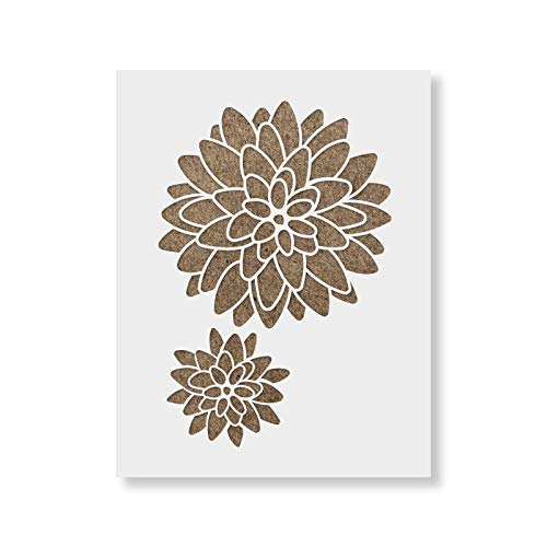Dahlia Floral Pattern Wall Stencil - DIY Wallpaper Alternative - Brighten Up Your Home with Our Dahlia Floral Pattern Wall Stencil
