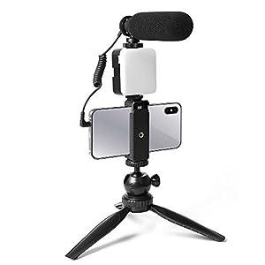 Smartphone Camera Video Microphone Kit, UHURU Super-Cardioid Shotgun Video Microphone with LED Light,Mini Tripod,Mini Ball Head,Phone Holder,Compatible with Phone,Camera,Camcorder,PC (UCM-11PL)