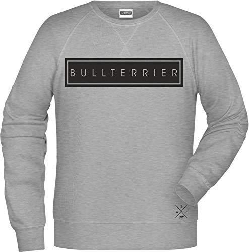 Siviwonder Bullterrier Hund Raglan Unisex Sweatshirt High Class Hundemotiv Farbe Grey Heather, Größe XXL