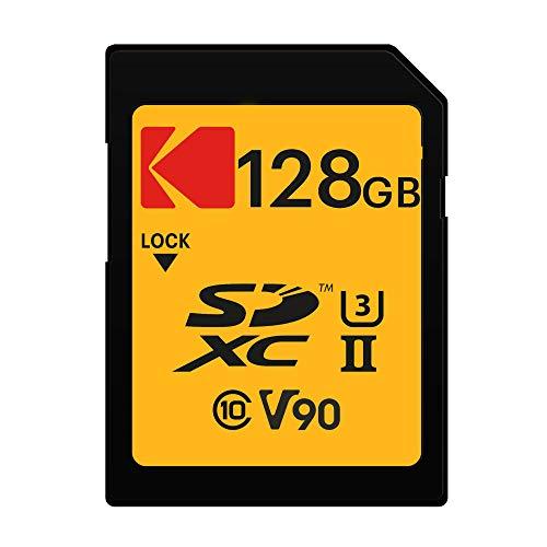 Kodak 128GB UHS-II U3 V90 Ultra Pro SDXC Memory Card - Up to 300MB s Read Speed and 270MB s Write Speed