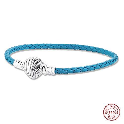 Bakcci 2020 Summer Blue Muschel Verschluss Türkis geflochtenes Lederarmband 925 Silber DIY passt für Original Pandora Armbänder Charms Modeschmuck 18 cm blau