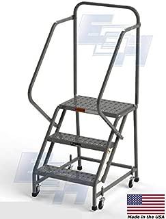 3-Step Steel Industrial Rolling Ladder, EGA L3020HKD, 16
