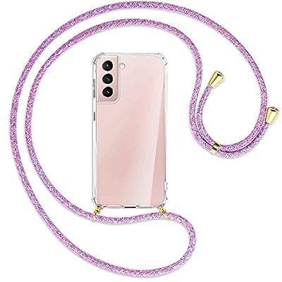 mtb more energy® Collar Smartphone para Samsung Galaxy S21 Plus, S21+ 5G (SM-G996, 6.7'') - Unicornio Morado/Oro - Funda Protectora ponible - Carcasa Anti Shock con Cuerda Correa
