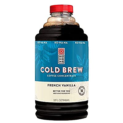 Kohana Cold Brew Coffee Concentrate, French Vanilla, 32 Ounce