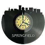 Springfield Reloj de pared de vinilo retro reloj grande reloj estilo habitación decoración hogar gran regalo para amigo hombre vinilo Record Kovides vinilo decoración hogar sala inspiradora pared