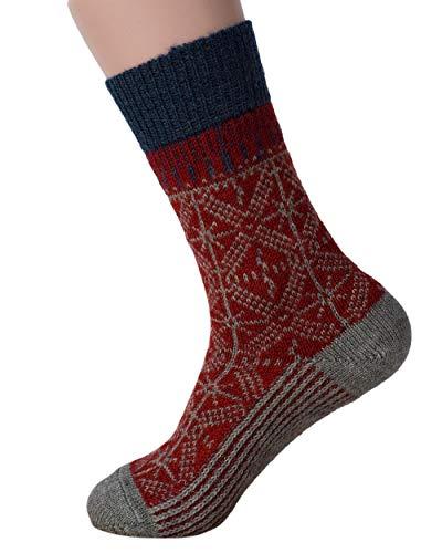 HIRSCH Natur, Umschlag-Socken, 100% Wolle (kbT) (42/43, Mohn/Grau)