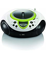 Lenco SCD-38-USB - Unidad de CD (MP3, WMA, LED, Giratorio, 3.5 mm) Color Blanco y Verde