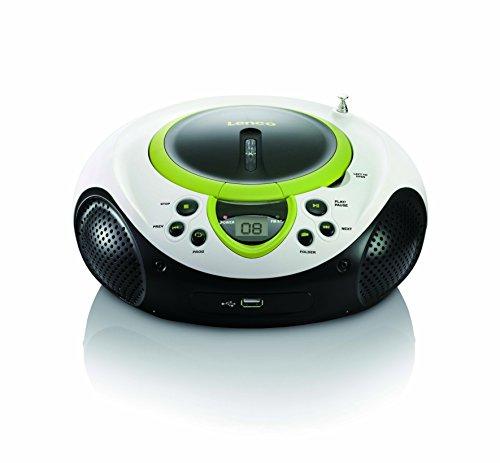 Lenco Kinder Radio CD-Player SCD-38, tragbares UKW-Radio mit CD/MP3-Player und USB, Grün