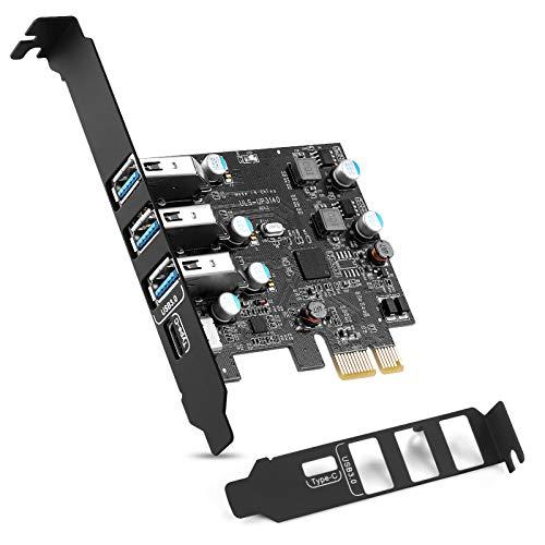 ULANSeN Carte d'extension PCI-E vers USB 3.0 Type C + 3 Type A - Interface USB 3.0 4 ports Express Card Support UASP avec support à profil bas pour Windows Mac Pro Linux