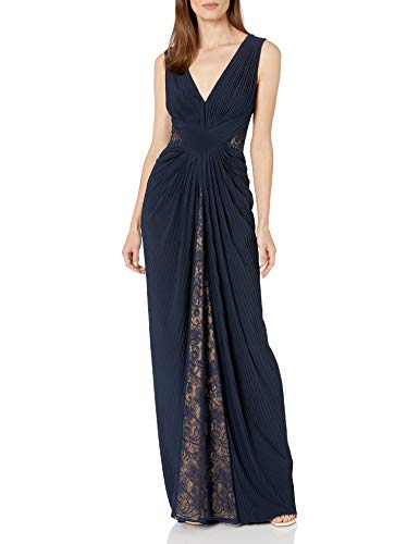 Tadashi Shoji Women's Sleeveless Pintuck Jersey Gown with lace Inserts, Navy/Nude, 6