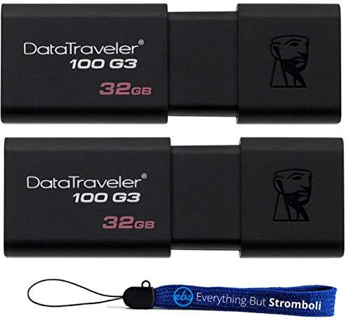 32GB Kingston ((TM) Digital (2 Pack) Data Traveler 3.0 32 GB USB High Speed Flash Drive (DT100G3) With (1) Everything but Stromboli (TM) Lanyard