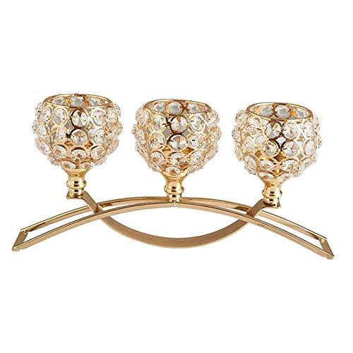 Dolity Candelabro de cristal de 3 brazos Adorno de de boda - de Oro, Individuales