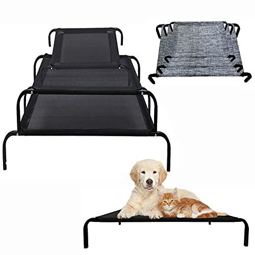 Erhöhtes Hundebett für Garten draußen,Hundeliege Outdoor Grosse Hunde,Dog Bed für große Hunde,aus Waschbar & Dauerhaft Textilene Netzstoff,114 x 76 x 15 cm