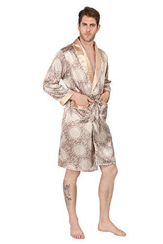 MAGE MALE Men's Summer Luxurious Kimono Soft Satin Robe with Shorts Nightgown Long-Sleeve Pajamas Printed Bathrobes Gold