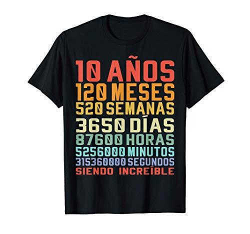 10 Años Divertido Regalo de Cumpleaños 10º Aniversario Camiseta