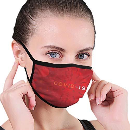 Design with Background Red Color Covid Coronavirus Face Protection Reusable Bandana 2 Layers Fabric Head Scarf Washable Neck Gaiter Earloop