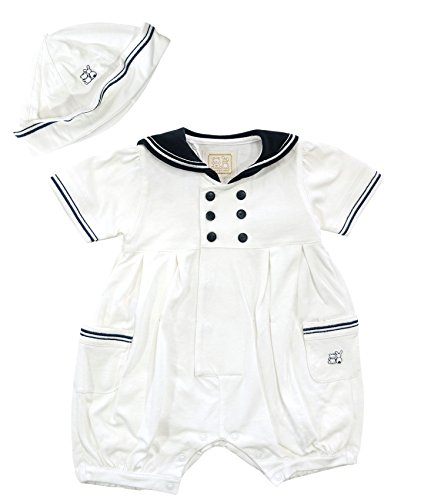 Emile et Rose Festlicher Baby-Spieler Weiß/Marineblau mit Mütze im Matrosenlook, Festmode für Taufe & Hochzeit, Gr. 68