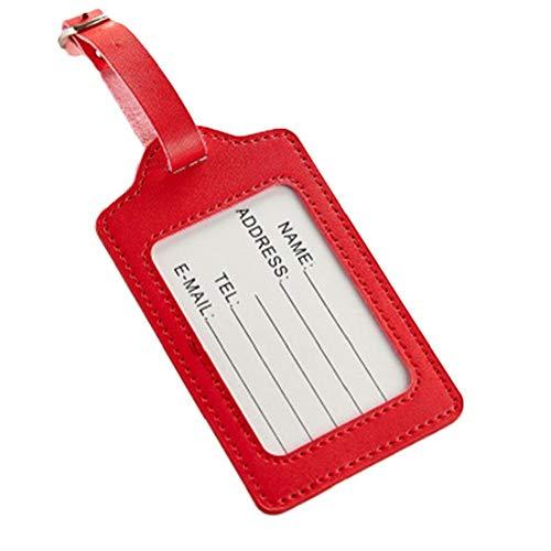 Kofferanhänger Reisetasche Koffer-namensschilder Premium-pu-Leder-kofferanhänger Datenschutz Reisetasche Labels Koffer Schlagwörter 1pc Red