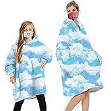 Geagodelia Manta de gran tamaño con capucha y forro polar mullido con capucha para hombres y mujeres y niños con bolsillo frontal grande a juego familiar