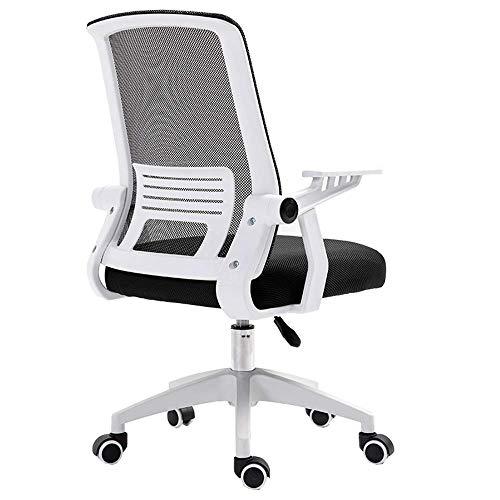 JIEER-C slaapkamer mesh computer bureaustoel lendensteun ademende netrugleuning lichte bureaustoel inklapbare armleuning wit frame nylon voet opslaggewicht 120 kg (kleur: rood) zwart