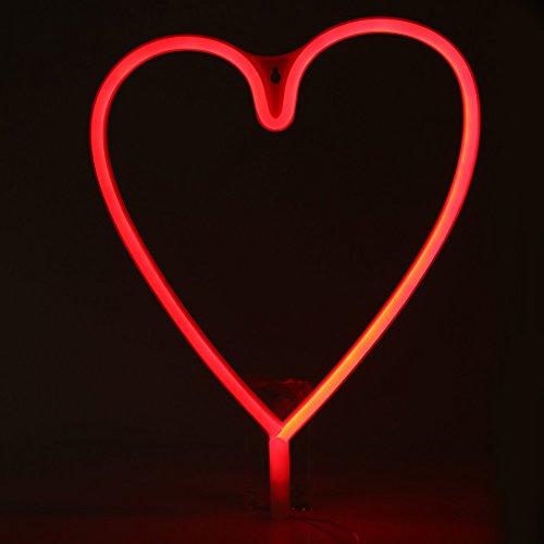 Deko-Leuchte, Wandbeleuchtung, USB / batteriebetrieben. Dekoration für Kinderzimmer, Hochzeit, Weihnachtsfeier Cœur - Rouge