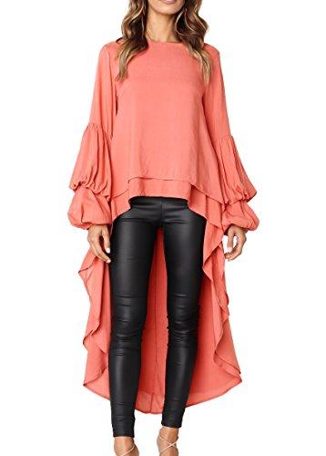 PRETTYGARDEN Women's Lantern Long Sleeve Round Neck High Low Asymmetrical Irregular Hem Casual Tops Blouse Shirt Dress (Orange, X-Large)