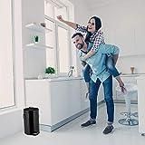 Relaxdays Treteimer Retro 12L, Inneneimer aus Kunststoff, runder Edelstahl Tretmülleimer, Bad und Küche, groß, schwarz, H x B x T: ca.40x27 x 33 cm - 2