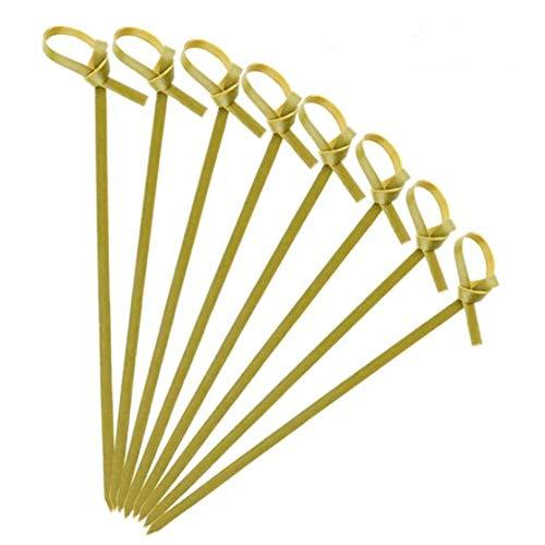 WOVELOT Brochetas de Bambú, Aptas para Aperitivos, Accesorios para Tablas de Queso, Juegos de Ollas Calientes, Cajas de Salsa (100 Piezas)