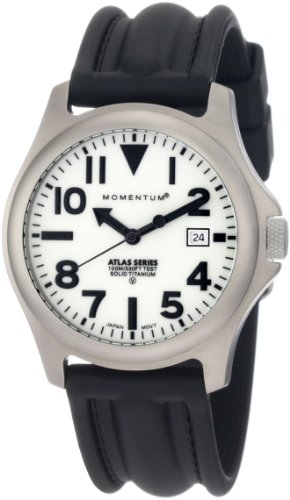 Momentum Men's 1M-SP00W1 Atlas White Dial Black SLK Rubber Watch