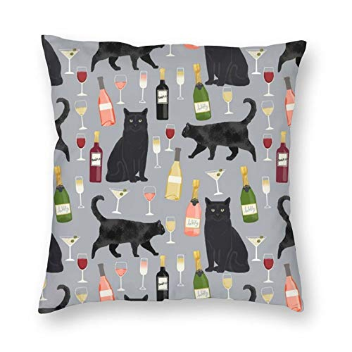 antoipyns Black Cat Wine 3D Printed Pattern Square Cushiondecorative Pillow Case Home Decor Square 18x18 Inches Pillowcase/Living Room/Car/Bedroom
