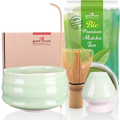 Teezeremonie-Set mit hochwertiger Matcha-Schale und echtem Bio Matcha aus Japan (Minto)