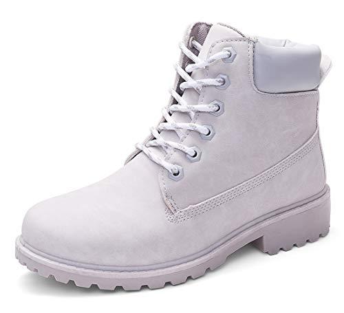 DADAWEN Women's Lace Up Low Heel Work Combat Boots Waterproof Ankle Bootie Light Grey US Size 6.5