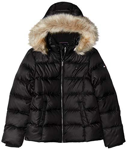 Tommy Hilfiger Mädchen Essential Basic DOWN Jacket Jacke, Schwarz (Black Bbu), (Herstellergröße:14)