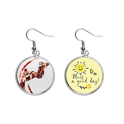 Ohrringe mit Sonnenblumen-Motiv für Sport und Skateboard, Wasserfarben, Ski-Illustration, Ohrhänger, Modeschmuck