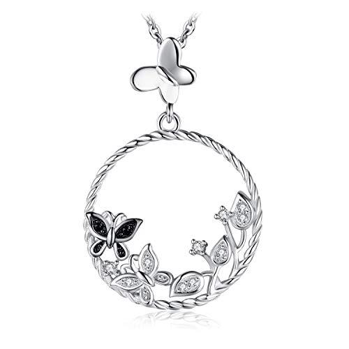 JewelryPalace Colgante Jardín Mariposas Con Espinela Negra Zirconia cúbica Collar Plata de ley 925 cadena de caja 45cm
