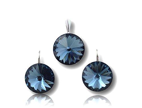 Crystals & Stones *Denim Blue* *RIVOLI* Elegant Damen Schmuckset mit Kristallen von Swarovski Elements