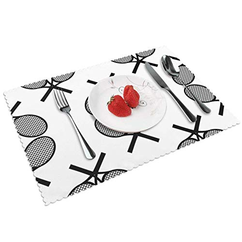XJ-JX Juego de 6 manteles individuales para mesa de cocina, diseño de raquetas de tenis, color negro, para mesa de comedor