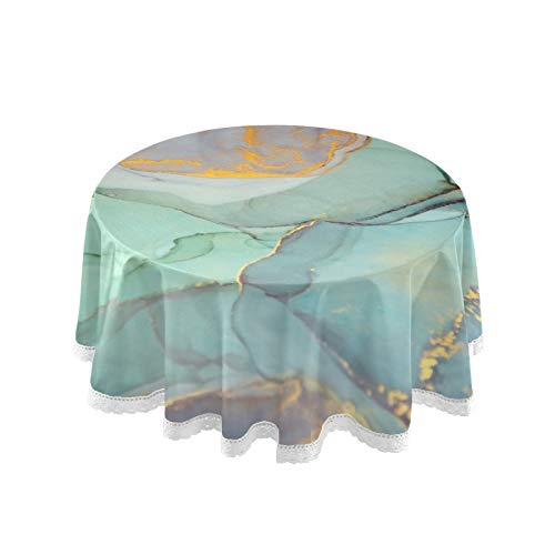 Qilmy Green Abstract Marble Tablecloth 60' Circle Table Cloth Cover Tabletop Fabric Stain Proof Round Tablecloth for Outdoor Party Picnic Camping