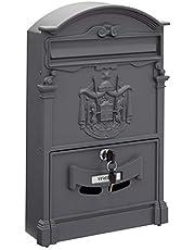 Arregui 2151 Buzón Individual de Aluminio de Estilo Clásico, Gris Antracita, Tamaño M (DIN A4 y revista) 42 x 26 x 9 cm