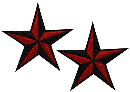 Nautical Star Nautic Stern Aufnäher Flicken Bügelbild Aufbügler Patch Sailor Rockabilly Stick Tattoo, C1005