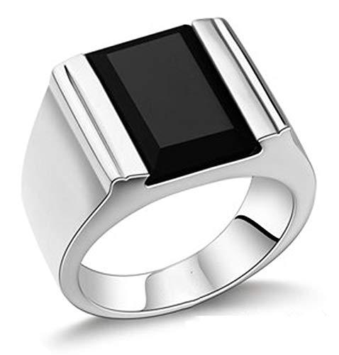 RXSHOUSH Anillo de plata S925 para hombre con piedras preciosas negras y ágata negra, regalo de la suerte para hijo o novio, tamaño 14-27, 18#