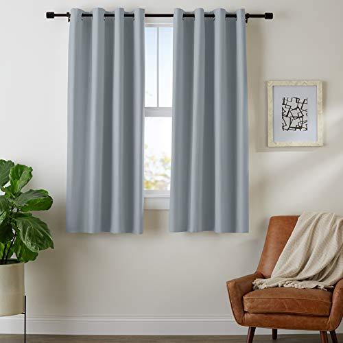 "Amazon Basics Room Darkening Blackout Window Curtains with Grommets - 42"" x 63"", Dark Grey, 2 Panels"