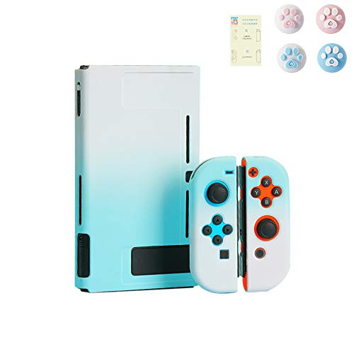 スイッチ ケース 分体式 Nintendo Switch カバー 薄型 Joy-Con用 親指キャップ ニンテンドースイッチ カバー 指紋防止 全面保護 ニンテンド ケース (色 : 青-ピンク, サイズ : ケース)