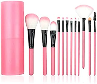 Yoana Professional Series Makeup Brush Set With Storage Barrel - Pack of 12 (Pink)