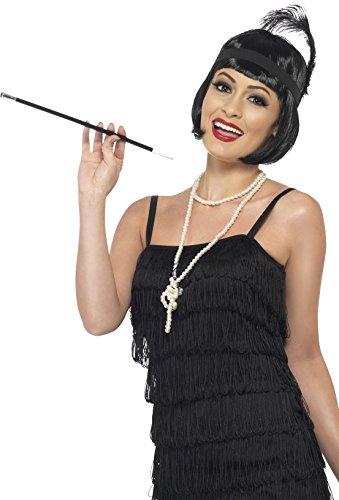 Smiffys Damen 20er Jahre Flapper Kit, Perücke, Stirnband, Halskette und Zigarettenhalter, Schwarz, One Size, 33551