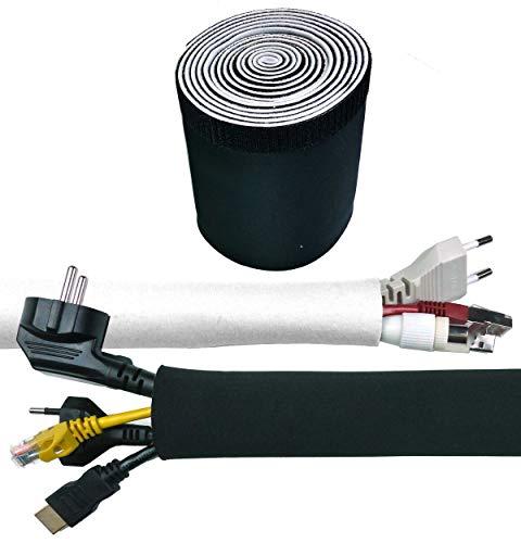Kabelschlauch Weiß - Schwarz, Kabelkanal Flexibel, Neopren 3 Meter x 135 mm mit innovativem Klettverschluss und einstellbarem Durchmesser   Kabel verstecken