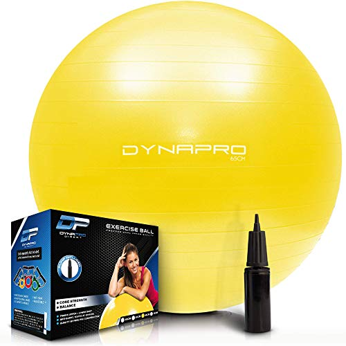 Exercise Ball - 2,000 lbs Stability Ball - Professional Grade – Anti Burst Exercise Equipment for Home, Balance, Gym, Core Strength, Yoga, Fitness, Desk Chairs (Yellow, 65 Centimeters)