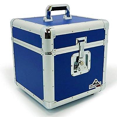 "Gorilla 12"" LP Vinyl Record Storage Box Flight Case Blue Holds 100pcs inc Lifetime Warranty"